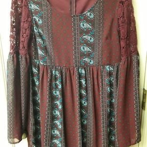 Red Boho Lace Peasent Top Dress Entro NWOT